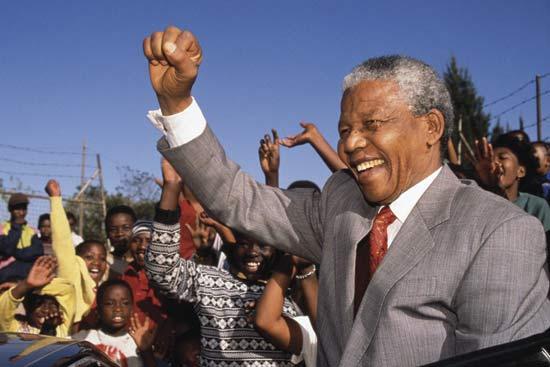 Mandela, vlak na zijn vrijlating in 1990